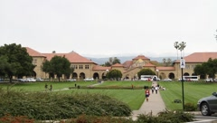 Stanford University Main Quad Wide View Stock Footage