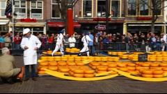 Alkmaar Dutch Cheese Market Stock Footage