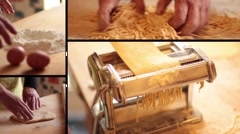 Homemade pasta multiscreen - stock footage