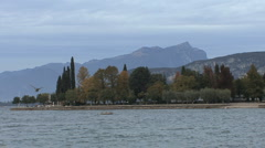 Italy Lago di Garda with birds at Bardolino Stock Footage