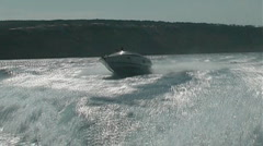 Motor boat in action - stock footage