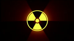 attention, radiation sign / hazard symbol - stock footage
