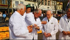 Experts examine cheese at Alkmaar Dutch Cheese Market Stock Footage