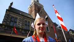 Cheese girl at Alkmaar Dutch Cheese Market Stock Footage