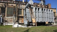 Heat electropower station. Transformers (outdoor switchgear) Stock Footage