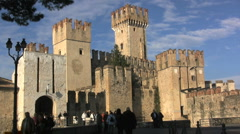 Italy Sirmione castle Stock Footage