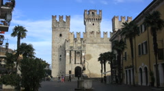 Italy Sirmione castle and well 4 Stock Footage