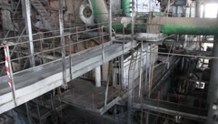 Interior of old power station - stock footage