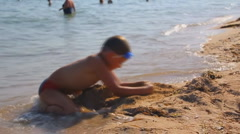 Boy, beach,  child Stock Footage