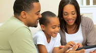 African-American Family With Wireless Tablet Stock Footage
