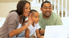 African-American Family Using Online Webchat Stock Footage