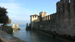 Italy Sirmione moat view Stock Footage