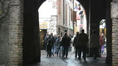 Italy Sirmione street with pedestrians Stock Footage