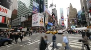 Nyc new york city pedestrians Times Square  New York City NY  intersection Stock Footage