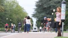 University Pedestrian Traffic Stock Footage