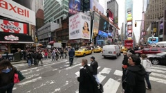 Times Square Crowd walking New York NYC slow motion intersection Stock Footage