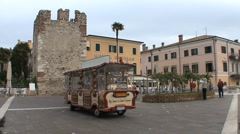 A funny train in Bardolino Italy Stock Footage