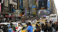 Times Square  crowd people walking New York NYC  1080i 60i  Stock Footage