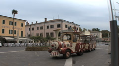 A funny little tourist train in  Bardolino Italy Stock Footage