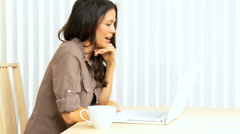 Brunette Girl Having Online Chat Stock Footage