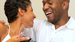 Happy Ethnic Couple Drinking Wine in Close-up Stock Footage