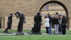 Bronze Statues by Auguste Rodin Stock Footage