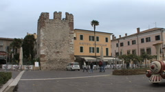 A castle tower and hotel in Bardolino  Stock Footage