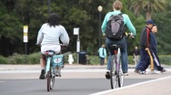 Stock Video Footage of students riding bicycles