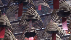 Incense burning Buddhist temple religious mysterious beautiful China Asia Stock Footage