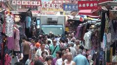 Shopping street, outdoors, clothing, Hong Kong, China Stock Footage