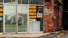 Store Front open for business Stock Footage