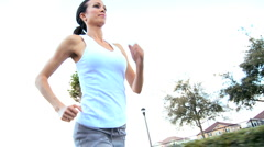 Caucasian Girl Jogging Exercise - stock footage