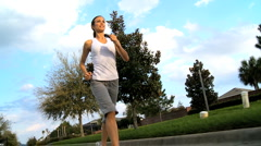 Healthy Caucasian Girl Jogging - stock footage