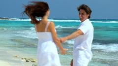 Caucasian Couple on Luxury Island Vacation Stock Footage