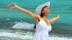 Carefree Lady Laughing on the Beach Stock Footage