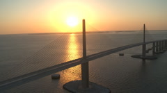 Aerial Sunshine Skyway Sunset 6 Stock Footage
