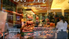 Delicatessen shop display window Full HD 1080p Stock Footage