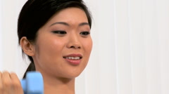 Portrait of Young Asian Girl in Fitness Studio Stock Footage