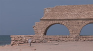 Stock Video Footage of Caesarea aqueduc 2