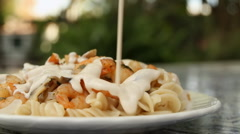 Fussily Shrimp Pasta With Cream (HD) Stock Footage