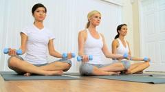 Multi-Ethnic Females at Fitness Studio Stock Footage