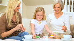 Female Family Play Tea Party Stock Footage