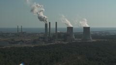 Aerial Coastal Nuclear Power Plant Stock Footage