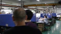 Walking through factory Stock Footage