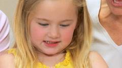 Portrait of Cute Little Blonde Girl Stock Footage