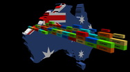 Stock Video Footage of Australia map with stacks of containers animation
