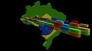 Stock Video Footage of Brazil map with stacks of containers animation