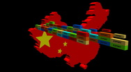 China map with stacks of export containers animation Stock Footage