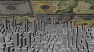 Stock Video Footage of cityscape with scrolling dollars animation