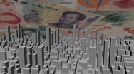 Stock Video Footage of cityscape with Chinese Yuan animation